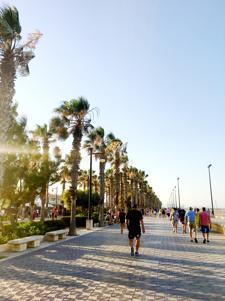 Promenade at Playa Malvarrosa in Valencia, Spain
