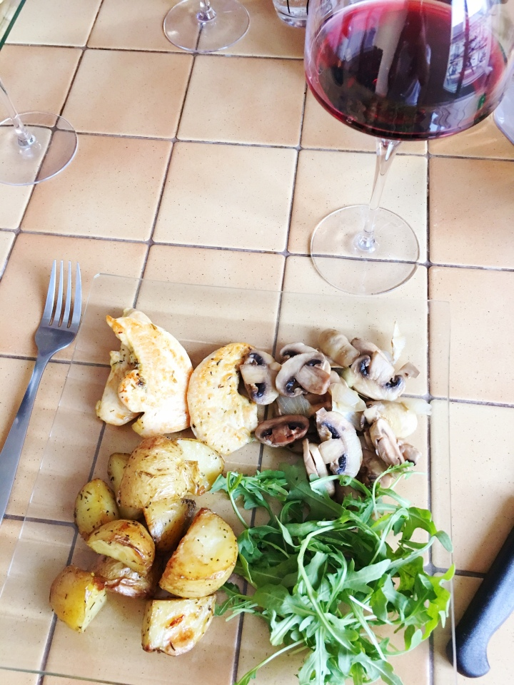 Lemon Thyme Chicken with Salad and Potatoes