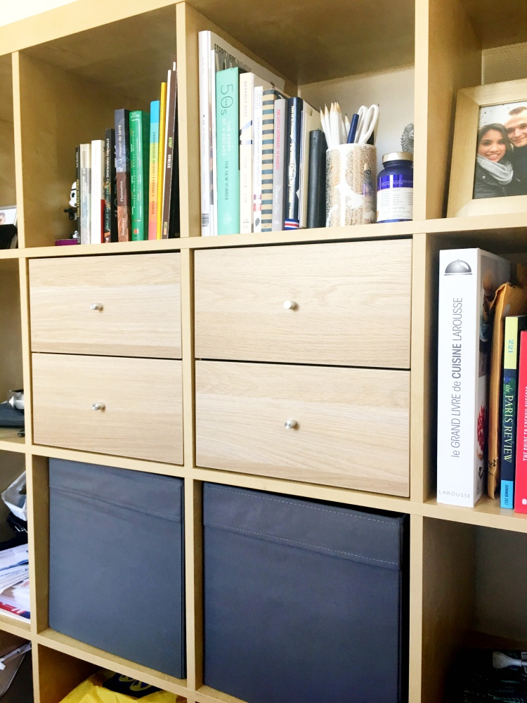 IKEA bookshelf drawers and boxes