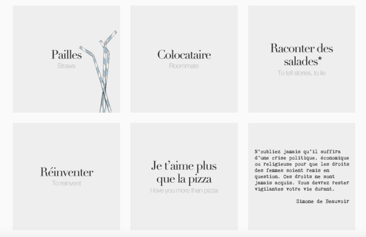 french words instagram account
