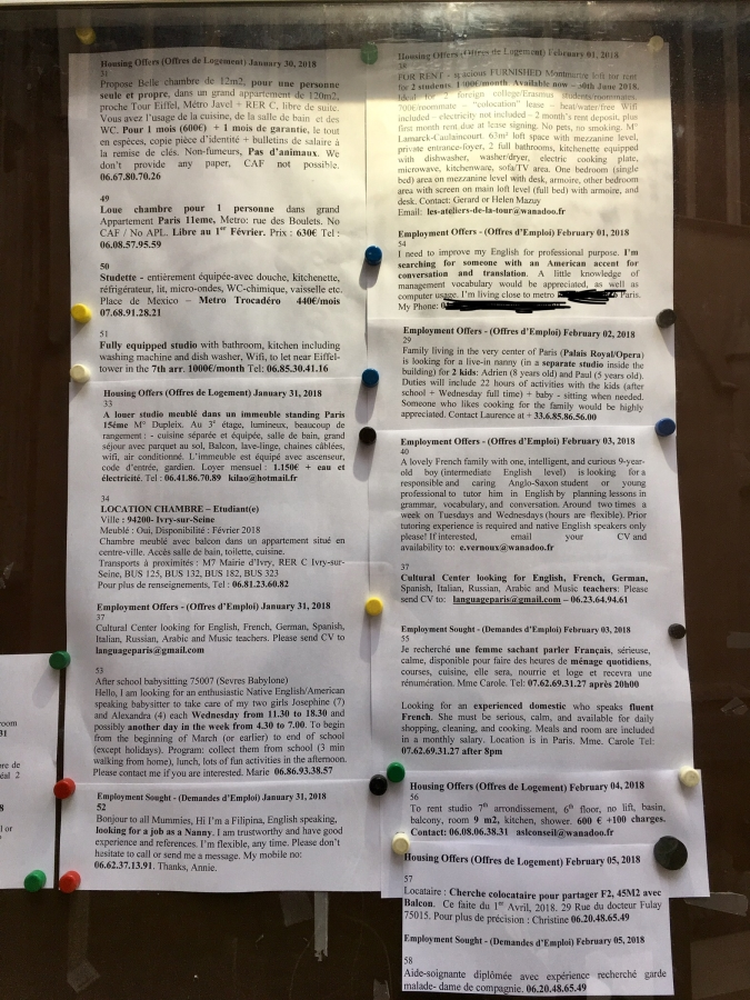 American Church in Paris bulletin board