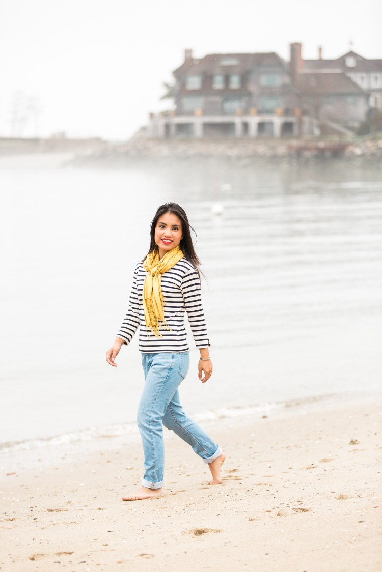 Breton Stripe and Boyfriend Jeans outfit