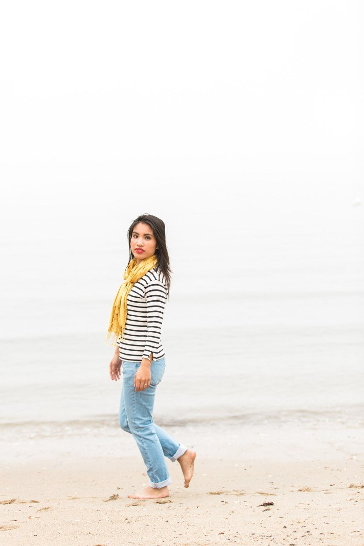 Breton Stripe and Everlane Boyfriend Jeans beachy outfit