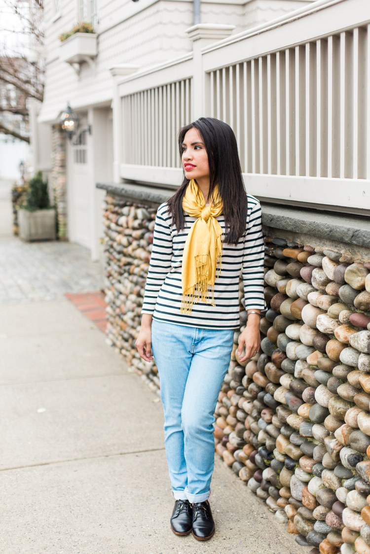 Armorluxe striped shirt and Everlane boyfriend jeans outfit