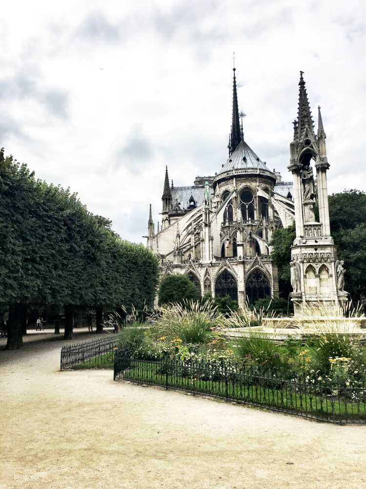 Notre Dame cathedral in Paris, France view with spire by Mia Lupo