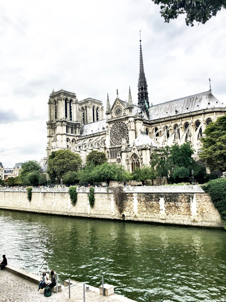 Notre Dame cathedral in Paris, France with spire by Mia Lupo