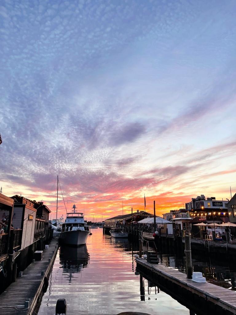 Newport, Rhode Island sunset on Bannister's Wharf